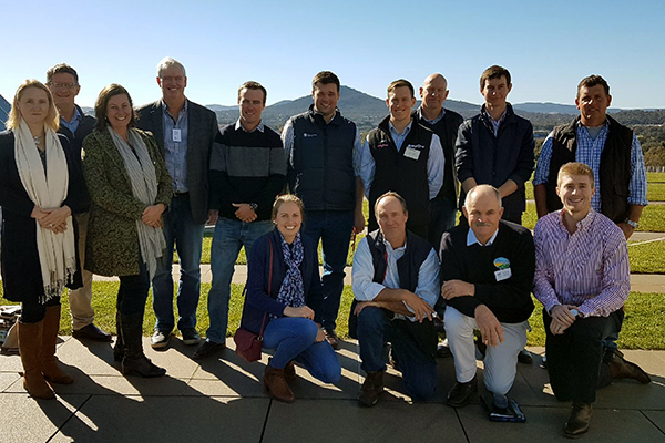 Participants in the Sheepmeat Industry Leadership Program visited Parliament House this week, including (back) Allison Harker, Peter Thomas, Amanda Olthoff, Michael Wright, Alister Persse, Dan Korff, Josh Sweeney, John McGoverne, David Lomas and Ben Haseler with (front) Elise Bowen, David Young, Graeme Sawyer and Isaac Allen.